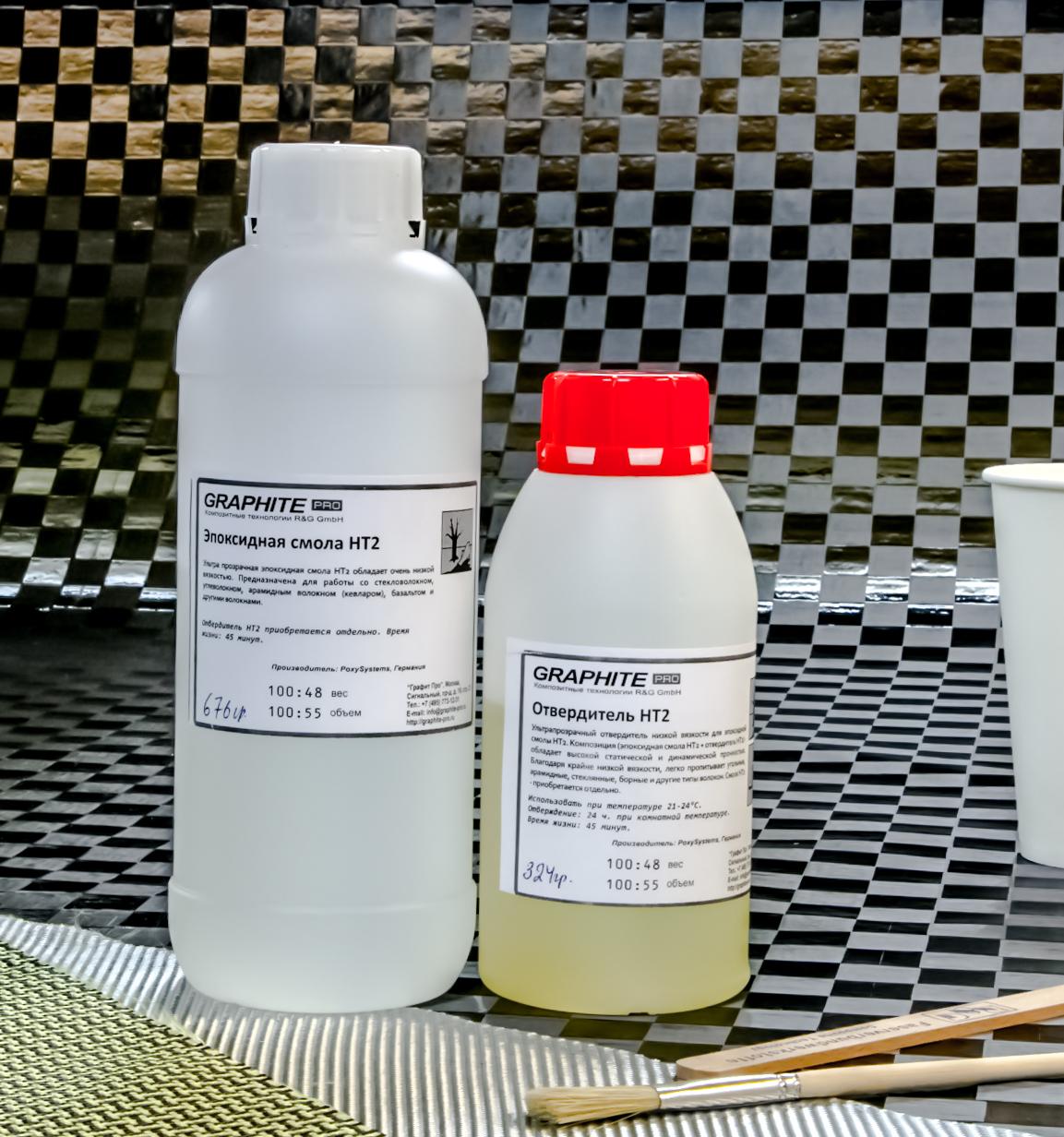 Эпоксидная смола HT2 + отвердитель HT2 (45 мин), набор из двух компонентов.