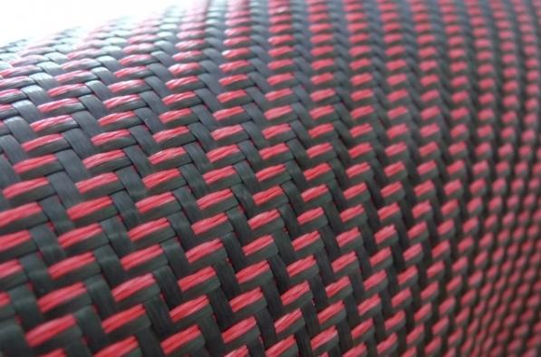 Угле-арамидный микс, красно-чёрный,твилл
