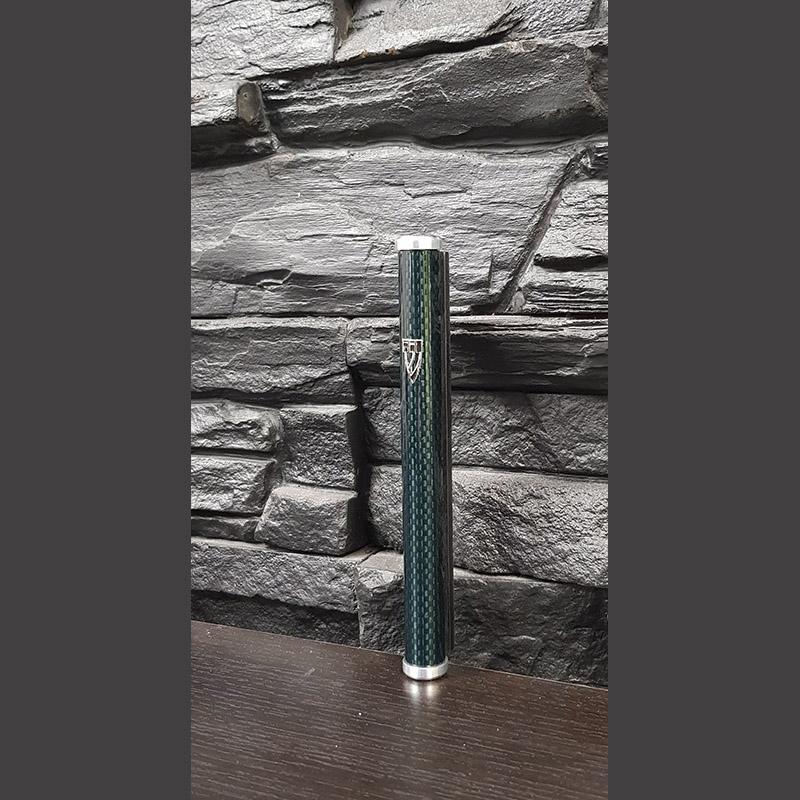 Карбоновая мезуза, цвет графит, синий лак 15 см.